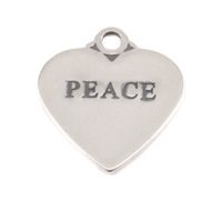 Sterling Silver Heart Charm with Top Loop, PEACE