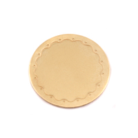 "Brass 3/4"" (19mm) Circle Wavy Border Blank, 24g"