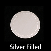 "Silver Filled 3/4"" (19mm) Circle Wavy Border Blank, 24g"