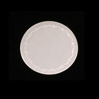 "Sterling Silver 3/4""(19mm) Circle Wavy Border Blank, 24g"