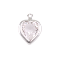 Swarovski Crystal Heart Silver Charm Diamondique (APRIL)
