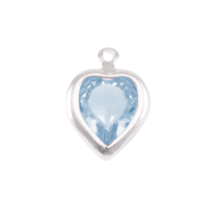 Swarovski Crystal Heart Silver Charm (Aquamarine - MARCH)