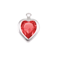 Swarovski Crystal Heart Silver Charm Ruby (JULY)