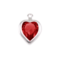 Swarovski Crystal Heart Silver Charm (Garnet - JANUARY)
