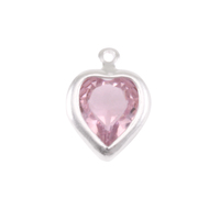 Swarovski Crystal Heart Silver Charm Alexandrite (JUNE)