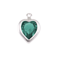 Swarovski Crystal Heart Silver Charm Emerald (MAY)