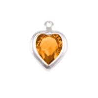 Swarovski Crystal Heart Silver Charm Topaz (NOVEMBER)