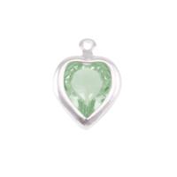 Swarovski Crystal Heart Silver Charm Peridot (AUGUST)