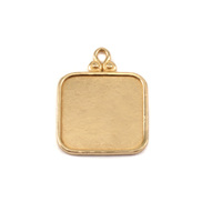 Brass Rounded Square Pendant w/Raised Edge