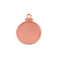 Copper Circle Pendant with Raised Edge