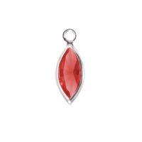 Swarovski Crystal Navette Silver Charm (Ruby - JULY)