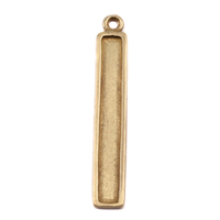 Brass Raised Edge Long Rectangle Pendant