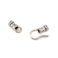 Silver Plated Hook and Eye Clasp with Pinch Ends, 1.5 ID,