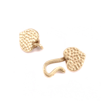 Brass Heart Hook and Eye Clasp with Pinch Ends, 1.5 ID,