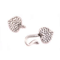 Silver Plated Heart Hook and Eye Clasp with Pinch Ends, 1.5 ID,