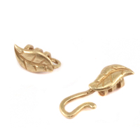 Brass Leaf Hook and Eye Clasp with Pinch Ends, 1.5 ID,