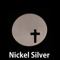 "Nickel Silver 7/8"" (22mm) Circle with Cross, 24g"