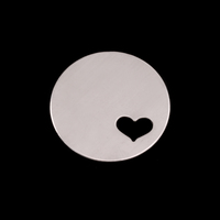 "Sterling Silver 7/8"" (22mm) Circle with Heart, 24g"