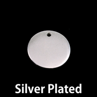 "Silver Plated Pewter 5/8"" (16mm) Circle with hole, 16g"