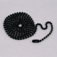 "Black Ball Chain with connector, 30"" 2.4mm"