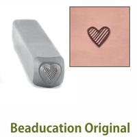 Tall Lined Heart Design Stamp- Beaducation Original