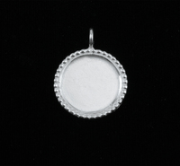 Sterling Silver Circle with Dotted Edge, Medium