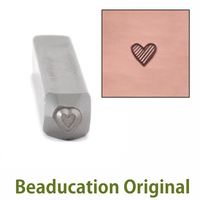 Tiny Tall Lined Heart Design Stamp - Beaducation Original