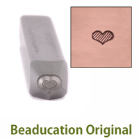 Tiny Fat Lined Heart Design Stamp - Beaducation Original