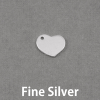 Fine Silver Heart Tag, Hole on Side, 20g