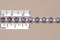 Crystal Cup Chain, Silver Plated, 4mm round, Tanzanite