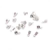Silver Plated Cup Chain Connectors for 2mm Crystal, 10 pairs