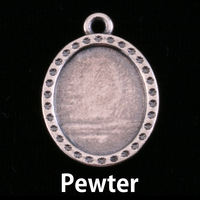 Pewter Oval with Dotted Edge