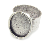 Plated Silver Adjustable Ring w/Oval 18mm x 13mm Bezel
