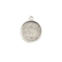 Plated Silver Round Designer Bezel Pendant,1/2 inch (13mm)