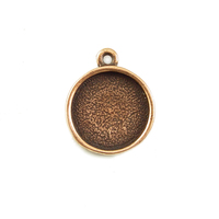 Plated Copper Round Designer Bezel Pendant,1/2 inch (13mm)