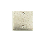 Plated Silver Small Thick Square with Two Holes