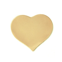 Brass Medium Puffy Heart, 24 gauge