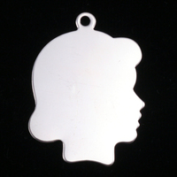 Sterling Silver Girl Head Silhouette Charm, 24g