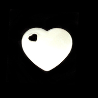 Sterling Silver Medium Heart with Heart Shaped Hole, 24g