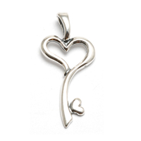 Sterling Silver Large Heart Key Charm
