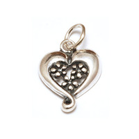 Sterling Silver Heart Charm with 3 Daisies