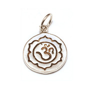 Sterling Silver Om and Lotus Flower Charm