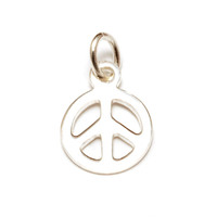 Sterling Silver Tiny Peace Charm with Jump Ring