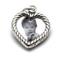 Sterling Silver Heart Shaped Photo Frame Charm, Double Sided