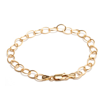 Gold Filled Charm Chain Bracelet, 7.25""