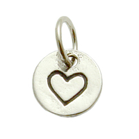 Sterling Silver Small Heart in Circle Charm