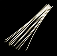 "Sterling Silver Head Pins 2"" (51.5mm), 24 gauge pack of 10"
