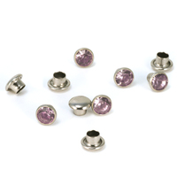 "Crystal 5/32"" Snap Rivets, Light Pink 5mm, 5 pk"