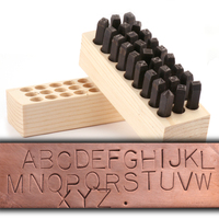 "USA Made Block Uppercase Letter Stamp Set 1/4"" (6.4mm)"