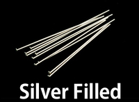 "Silver Filled Head Pins 1 1/2"" (38mm) 24 gauge pack of 10"